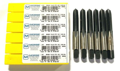 Morse 3//8-24 Hand Tap HSS Plug Taps Steam Oxide Straight Flute USA Made 6 Pack