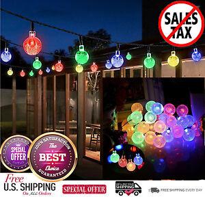 Outdoor Solar Powered String Lights 30 LED Fairy Bubble Garden Party Yard Decor