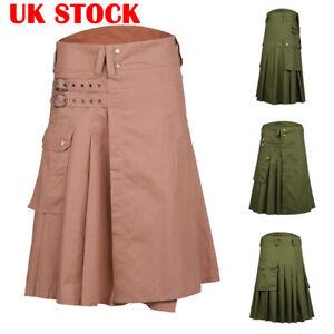 Retro-Scottish-Men-039-s-Kilt-Traditional-Highland-Dress-Skirt-Tartan-Kilts-Dress-UK