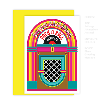 Rock N Roll Happy Birthday Card For Her Him Edit Name 60s Retro Jukebox Design Ebay
