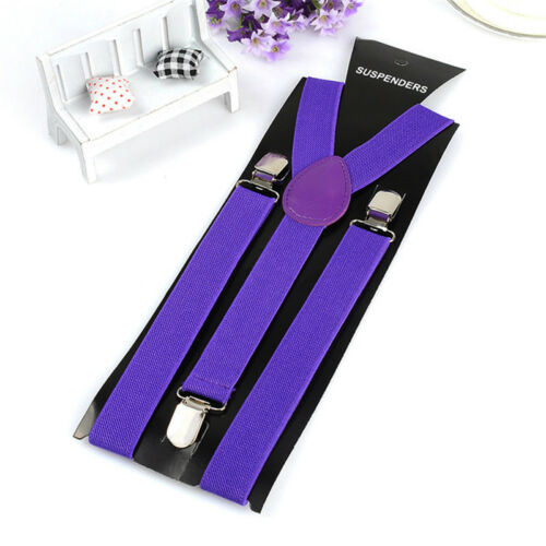 Unisex Elastic Y-Shape Braces Mens Womens Adjustable Clip-on Suspenders Adjust