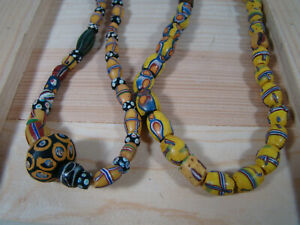 Antique-Venetian-Murano-Millefiori-Glass-African-Trade-Beads-TWO-Strands