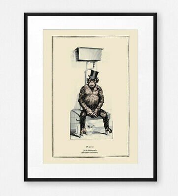 Funny Vintage Surreal Chimp Bathroom Toilet Wall Art Print Old Illustration Ebay