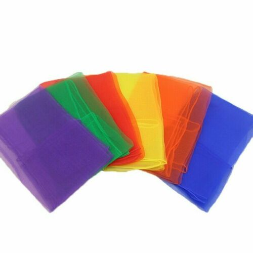 12 Scarves Fabric 6 Rainbow Colours Squares Play Silks Dance Scarves Design