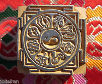 Largest Hand-carved Wood Tibetan Buddhist Mandala 8 Auspicious Symbols Stamp