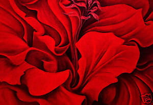 large floral canvas art red flower painting mounted a1 ebay