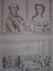 Gravure LOUIS XV tenant les Sceaux - Marie Leczinska - France - Période: XIXme et avant - France