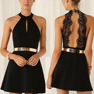 Women-Casual-Sleeveless-Bodycon-Lace-Cocktail-Evening-Party-Stretch-Mini-Dress