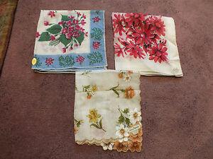 Collectible Ladies Handkerchief Set 3 Original Labels Spain Philippines Floral