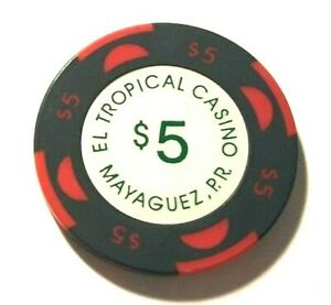$5 DORADO BEACH Hotel Casino DK RED w BLUE RED poker Chip Puerto Rico HORSE mold