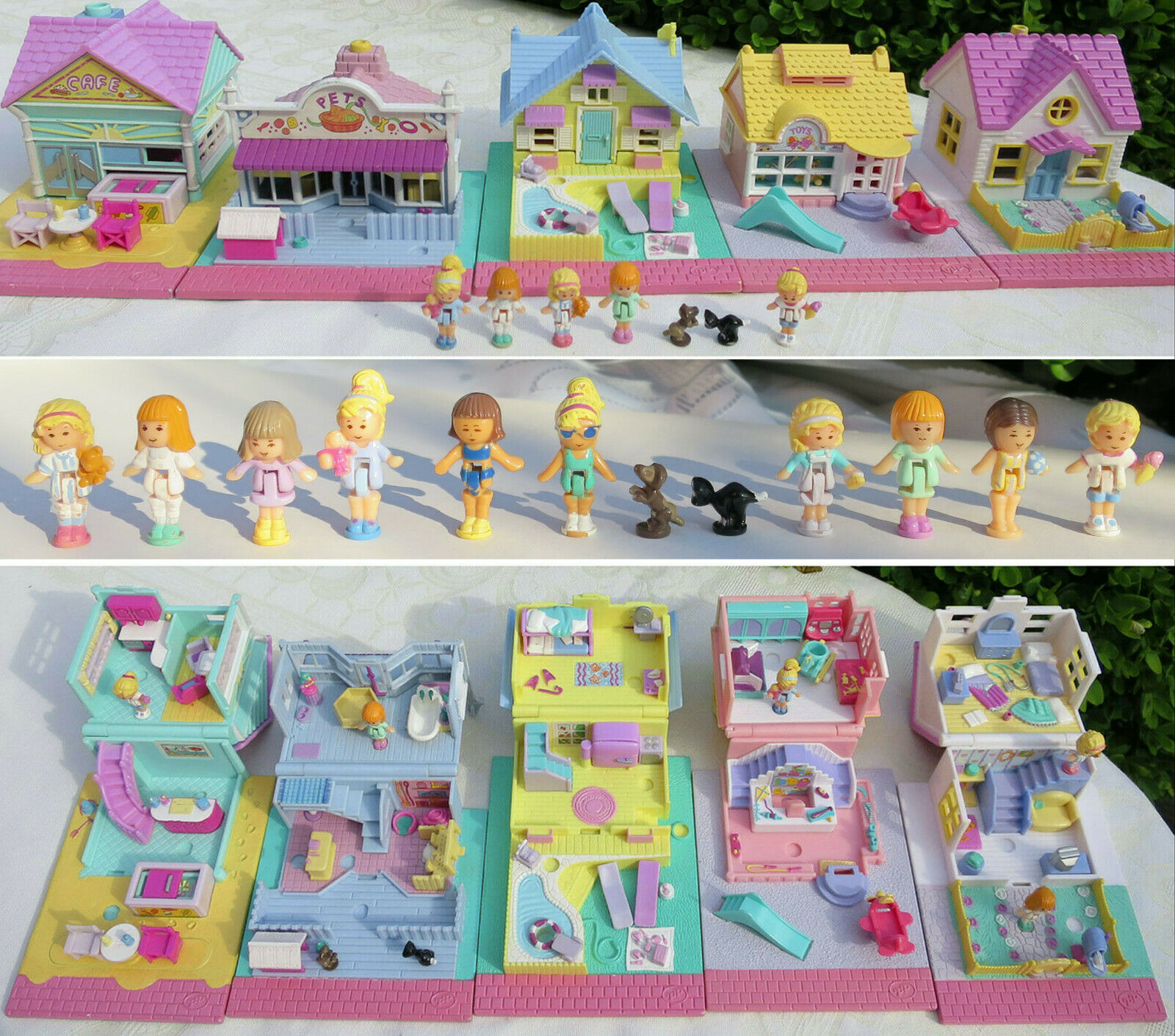 Mini Polly Pocket 100% complete Cozy Cottage Summer House Toy Shop Beach Cafe