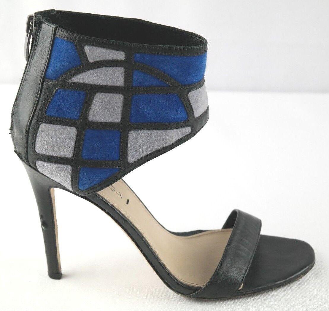 Via Spiga High Heel Sandals Womens Sz 8 bluee Black Ankle Cuff shoes