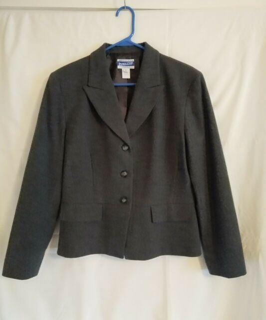0804810a9c7e Vintage Pendleton Gray Wool Lined Blazer Jacket Womens Size 10 Made In USA