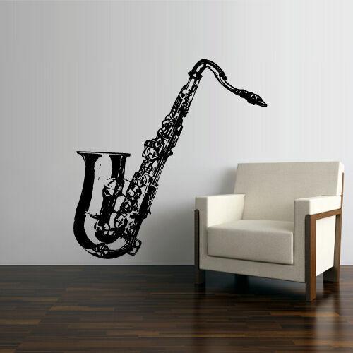 Wall Vinyl Sticker Decal Music Instrument Sax Saxophone Tube Jazz Notes Z2601