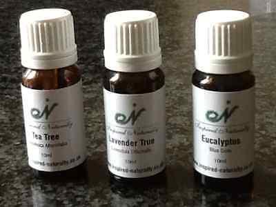 Eucalyptus, Tea Tree and Lavender 100% Essential oils (Three 10ml bottle set)