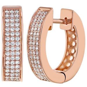 18k-Rose-Gold-Plated-Clear-CZ-Hoop-Huggie-Teens-Women-Earrings