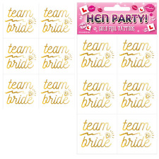 Team Bride Hen Night Accessories for Hen Do We Personalize 30 Hen Party Gold Temporary Team Bride Tattoos