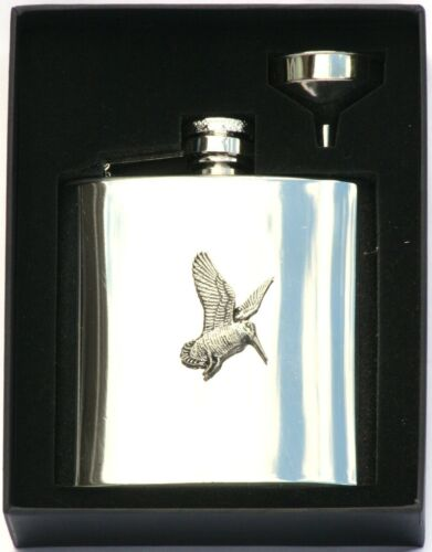 Woodcock 6 oz Hip Flask Personalised Shooting Gift Boxed FREE ENGRAVING 402