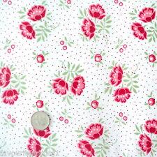 Indienne Floral-Marfil Rojo-Shabby Vintage Chic Por M 100% Algodón Tejido