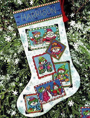 Cross Stitch Christmas STOCKING Kit SNOWMEN SNAPSHOTS Dimensions 2001 Sealed