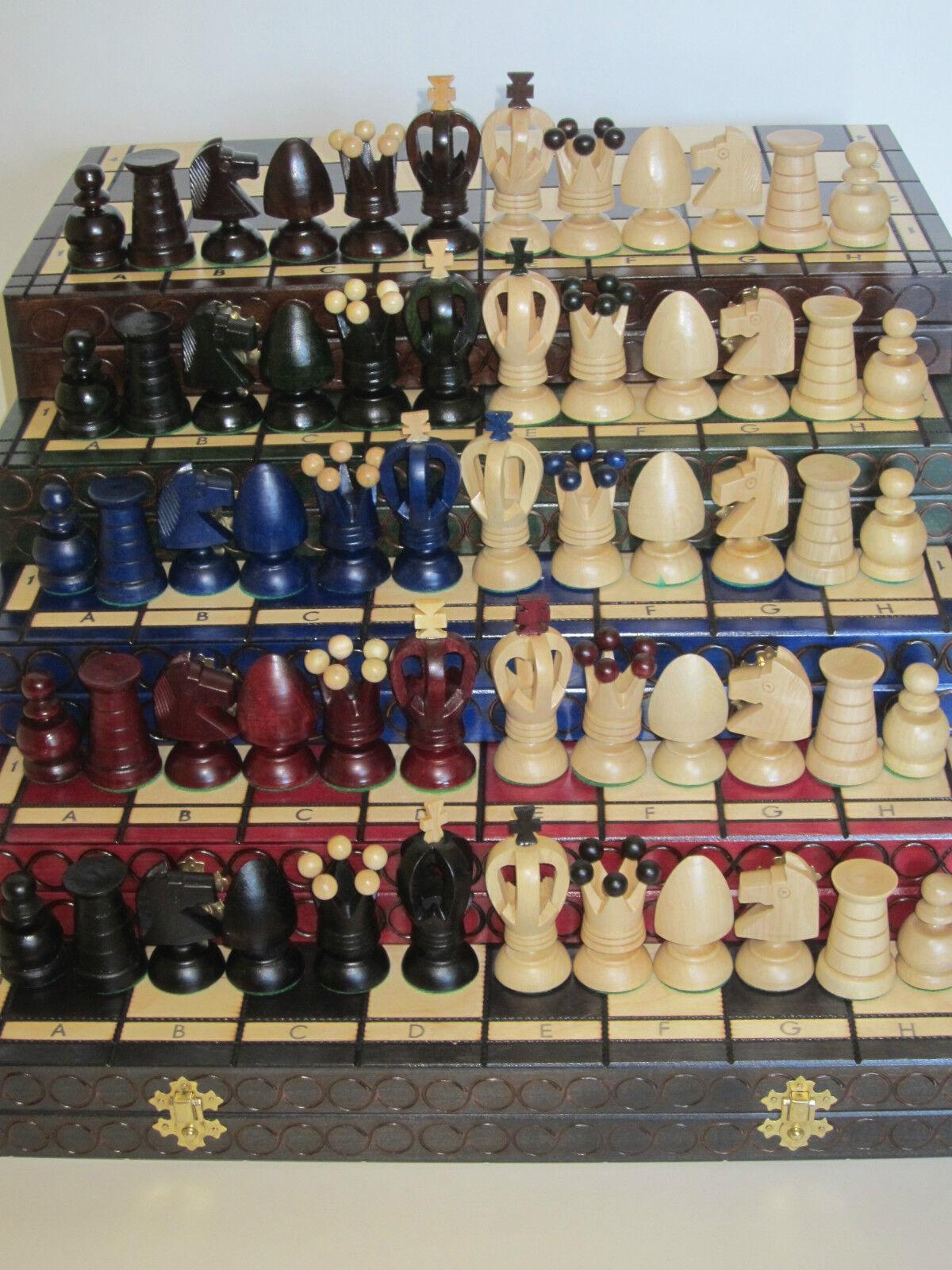 Schach Schachspiel Schachspiel Schachspiel Schachbrett Royal 44 x 44 cm Holz braun grün rot schwarz b9c371