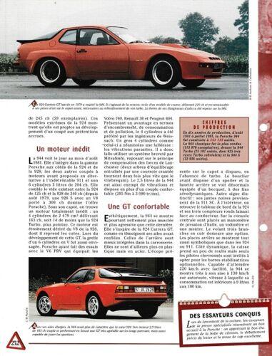 VOITURE PORSCHE 944 1981 FICHE AUTO RENSEIGNEMENT TECHNIQUE  VOITURE CAR