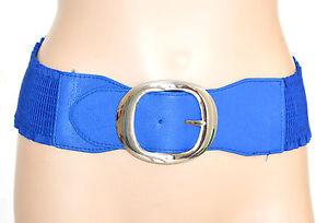 CINTURA-BLU-stringivita-donna-pelle-fibbia-argento-elastica-bustino-a-molla-F15
