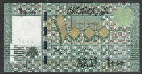 LEBANON   1000  LIVRES  2012  P 90  New  Prefix  K//08  Uncirculated  Banknotes