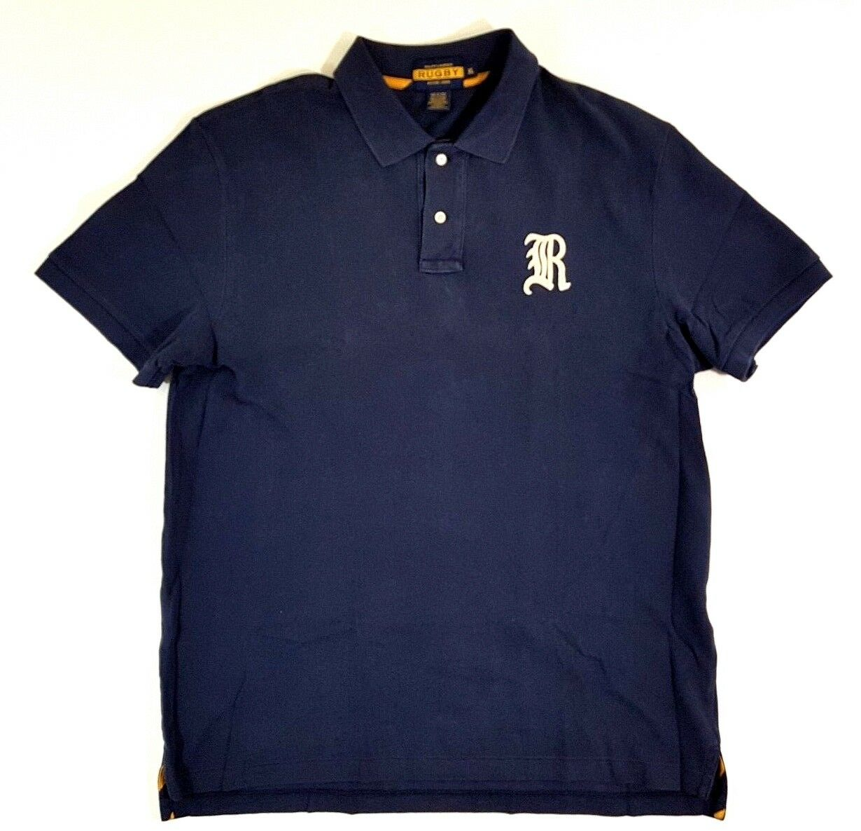 Rugby Ralph Lauren Gothic R Navy bluee White Size XL Mens Polo Shirt Vintage