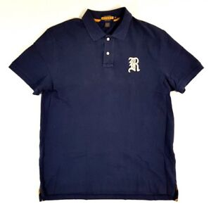 Rugby-Ralph-Lauren-Gothic-R-Navy-Blue-White-Size-XL-Mens-Polo-Shirt-Vintage
