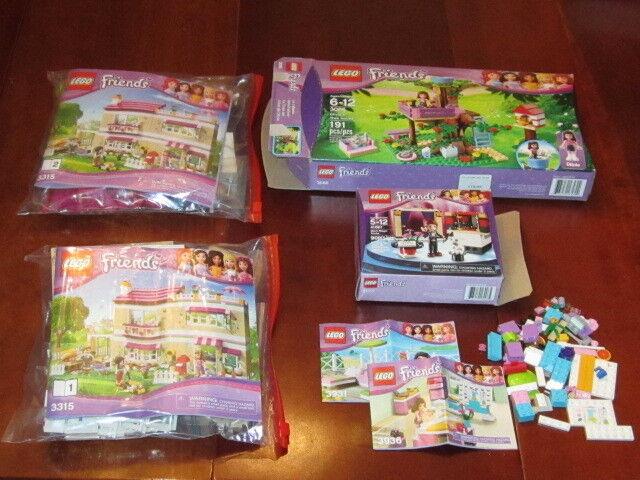LEGO FRIENDS 3 set LOT  3315 House 41001 Mia's Magic 3065 Olivia's Treehouse EX