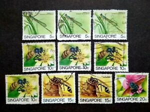 Singapore-1985-Insects-Loose-Set-Up-To-20c-Extra-10v-Used-4