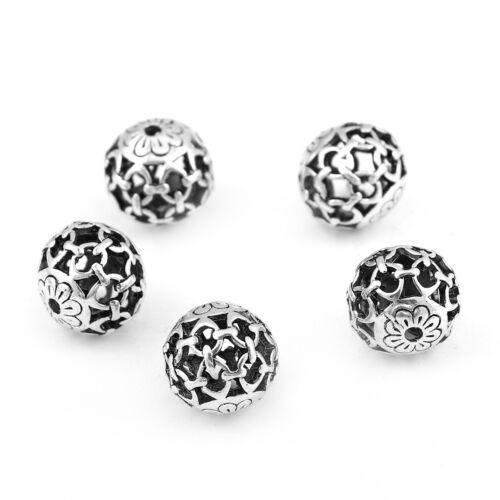 metal perla flor en cadenas plata 14mm 1x #01.00561 Perla de metal