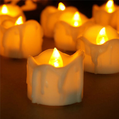 6//12//24pcs Flickering LED Tealights with Timer Candles Flameless Light Party