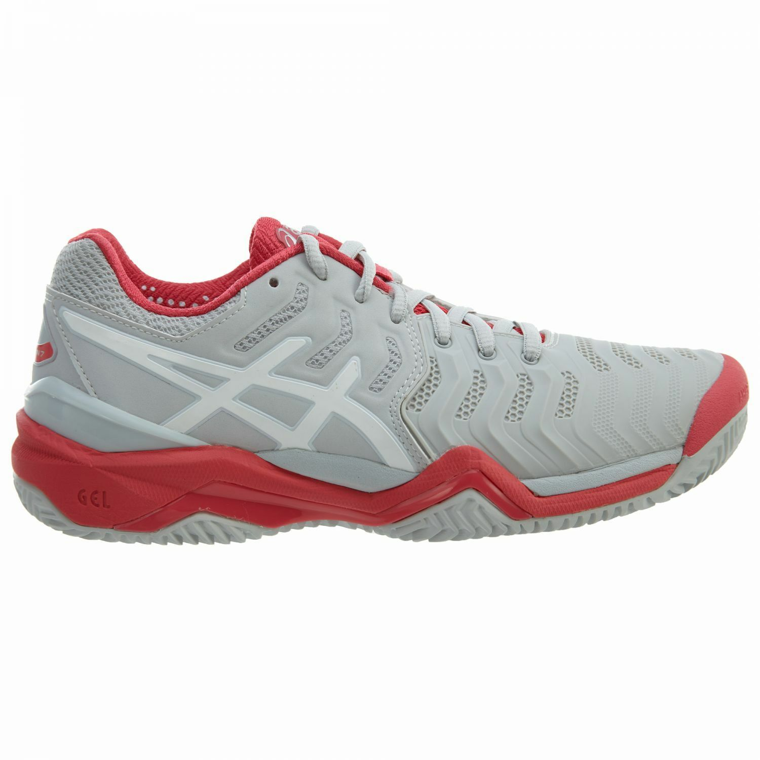 Asics Gel-Resolution 7 Clay Womens E752Y-9601 Grey Red Tennis shoes Size 6.5