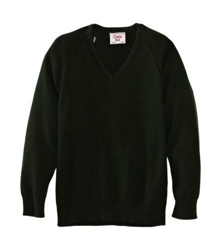 Charles Kirk Coolflow  Unisex Boy/'s and Girls v-Neck School Jumper Green/&Grey