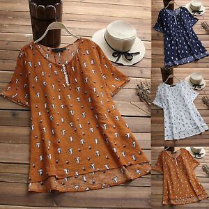 Boho-Women-Floral-Short-Sleeve-Loose-Shirt-Top-Summer-Casual-Blouse-Plus-Size