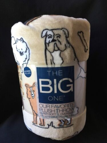 Tan Brown Dogs Puppies! The Big One Oversized Plush Blanket Throw 5 ft x 6 ft