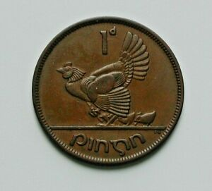 1948-IRELAND-Coin-One-Penny-1d-brown-mother-hen-amp-chicks