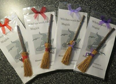 Small Altar broom with bell /'BLESSED BE ~ broomstick ~ green invoke the goddess