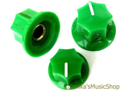 Set of 3 jazz bass guitar style 7 side green knobs 2 tone and 1 volume knob new
