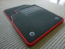 Original Lengenfelder Fußmatten passend für Audi A4 S4 B8 + Rand Kunstleder ROT