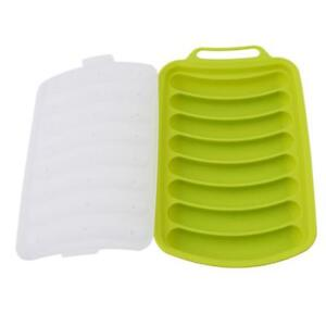 Red/&Green 2 Pack DIY Homemade Sausage Hot Dog Mold LCE Cube Mould Silicone Baking Mold with Green Silicone Brush