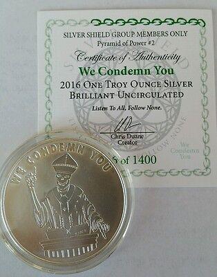 ONE Silver Shield Bitcon Bitcoin 2014 RARE Rounds BU Mint in holder 1 oz