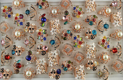 Fashion Jewelry Mixed Lots 26pcs Natural stone Silver P Women/'s Big Party Rings