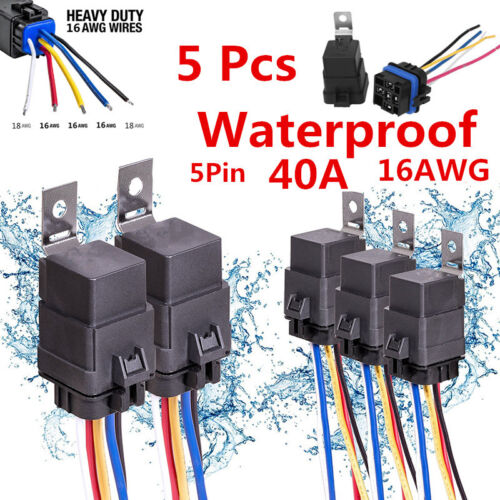 5Pcs 5Pin Auto Car SUV Relay Switch Harness 30A//40A 12VDC 16AWG Wires Waterproof