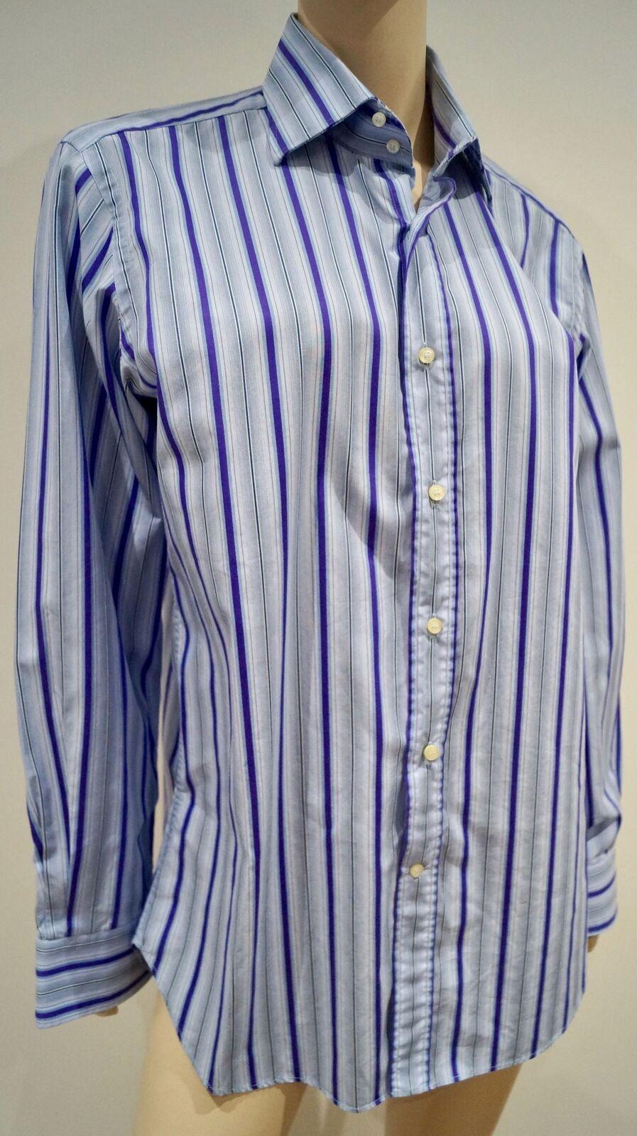 ETRO MILANO ITALIA Menswear Blu & Viola a Righe Abito Formale Camicia Top taglia 41