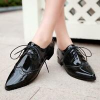 womens Wing Tip Brogue oxfords PointY Toe lace up patent leather shoes Size 4-11