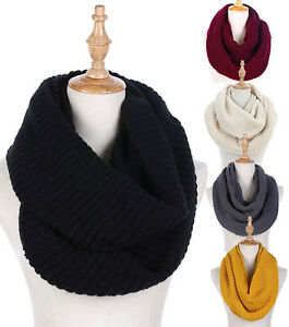 Women Winter Warm Shawl Infinity 2 Circle Cable Knit Cowl Neck Long Scarf
