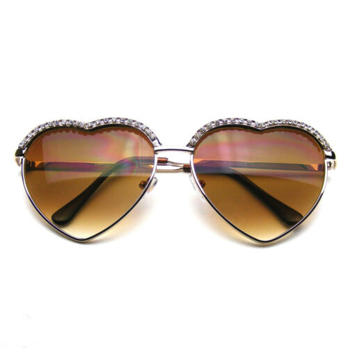 Süß Chic Herz Form Glam Strass Herz Sonnenbrille